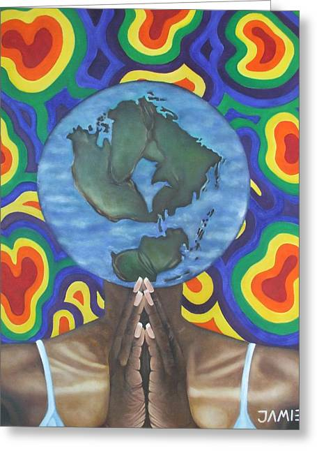 Praying Hands Mixed Media Greeting Cards - Mother Earth the Beginning of Time Greeting Card by Jamie Preston