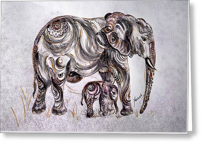 Caring Mother Greeting Cards - Mother Elephant Greeting Card by Harsh Malik