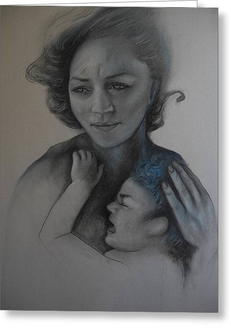 Caring Mother Pastels Greeting Cards - Mother Greeting Card by Gabriela Junosova