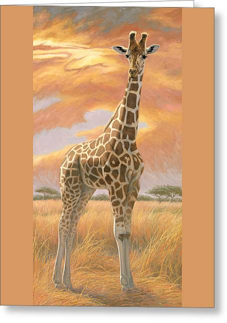 Naturalist Greeting Cards - Mother Giraffe Greeting Card by Lucie Bilodeau