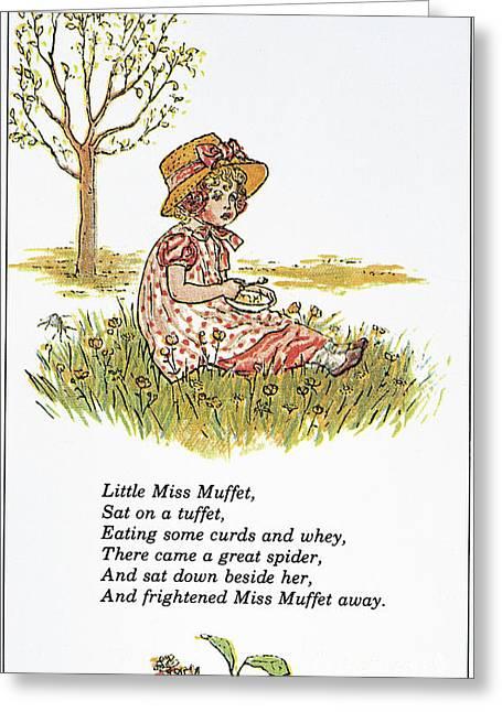 Muffet Greeting Cards - Mother Goose, 1881 Greeting Card by Granger