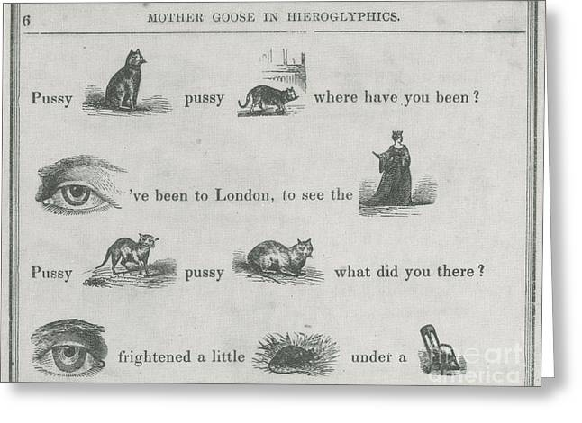 Nursery Rhyme Greeting Cards - Mother Goose In Hieroglyphics, 1855 Greeting Card by Photo Researchers