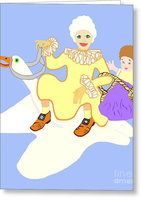 Mother Goose Greeting Cards - Mother Goose On Her Flying Goose Greeting Card by Marian Cates