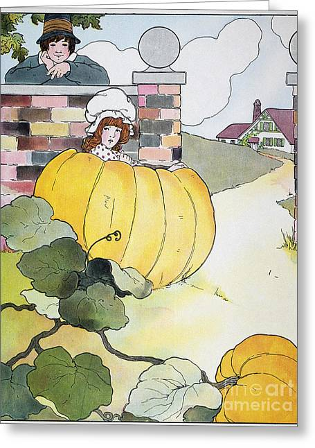 Mother Goose Greeting Cards - Mother Goose: Pumpkin Greeting Card by Granger