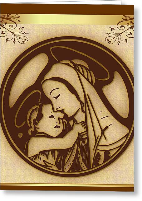Baby Jesus Mixed Media Greeting Cards - Mother Mary and Child Greeting Card by Mario Carini