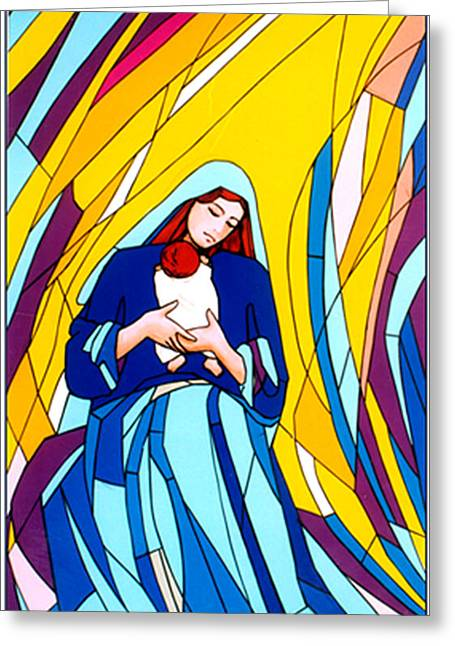 Jesus Glass Art Greeting Cards - Mother Mary and Child Greeting Card by Terezia Sedlakova Wutzay