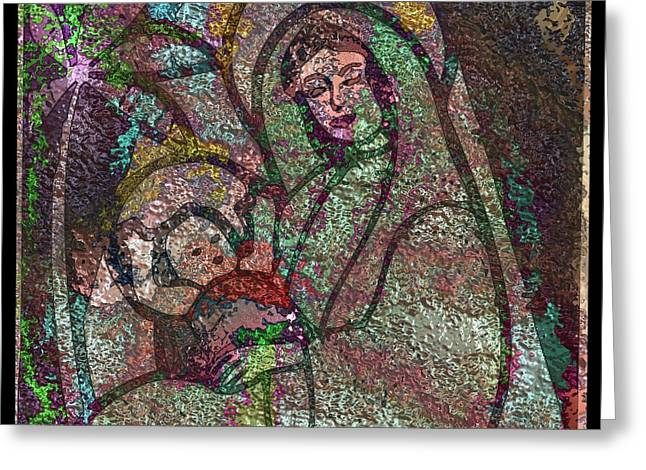 Christ Child Mixed Media Greeting Cards - Mother Mary and Christ Greeting Card by Mario Carini