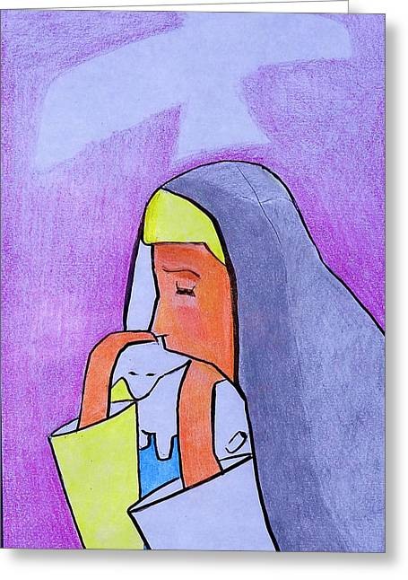 Sacrificial Paintings Greeting Cards - Mother Mary Greeting Card by Nancy Van