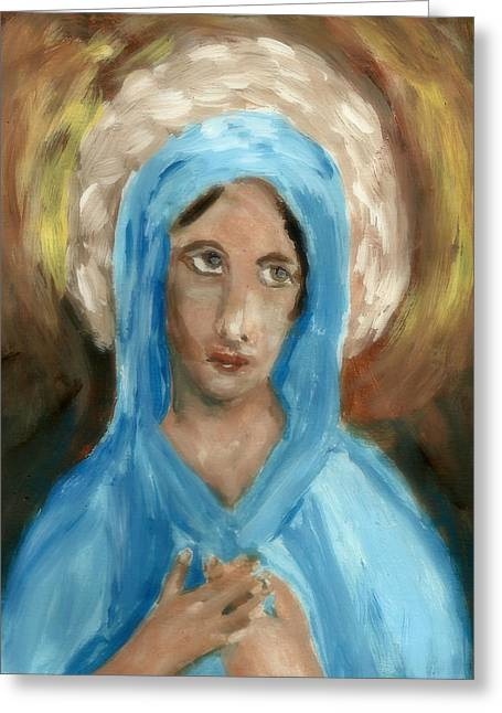 Mother Mary Greeting Card by Peg Holmes