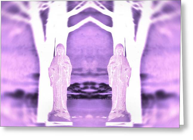Mother Mary Digital Art Greeting Cards - Mother Mary Protect Us Greeting Card by Dan Sproul