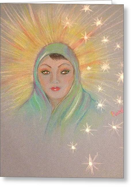 Guardian Angel Pastels Greeting Cards - Mother Mary Greeting Card by Ronnie Egerton