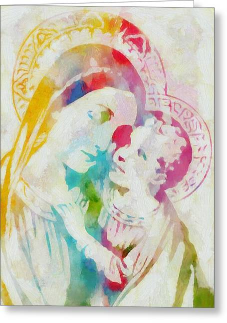 Recently Sold -  - Angel Blues Greeting Cards - Mother Mary Watercolor Greeting Card by Dan Sproul