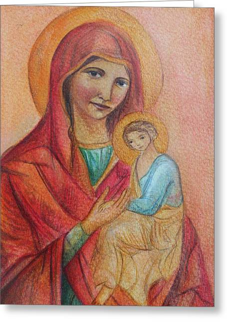 Holy Trinity Icon Greeting Cards - Mother Mary with Christ Greeting Card by Vera Atlantia