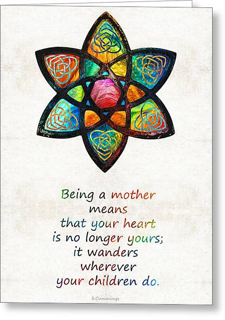 Mom Paintings Greeting Cards - Mother Mom Art - Wandering Heart - By Sharon Cummings Greeting Card by Sharon Cummings