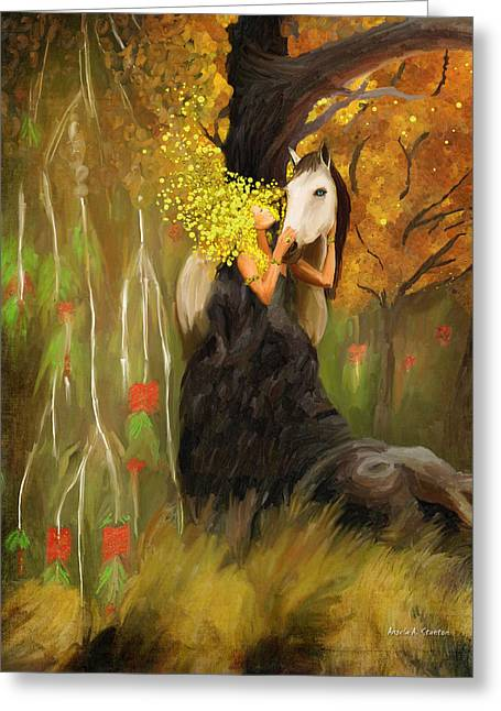 Caring Mother Greeting Cards - Mother Nature and her White Horse Greeting Card by Angela A Stanton