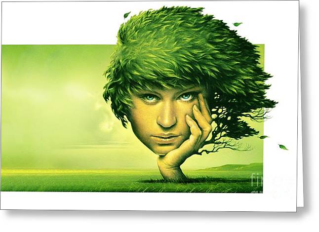 Leaves In Hair Greeting Cards - Mother Nature, Conceptual Artwork Greeting Card by Wieslaw Smetek