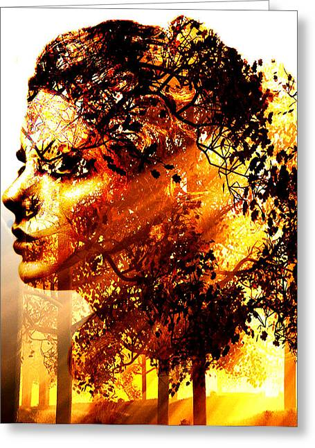 Digital Collage Greeting Cards - Mother Nature Greeting Card by Marian Voicu