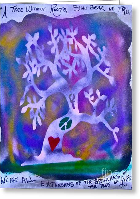 Metaphysics Greeting Cards - Mother Nature Tree purple Greeting Card by Tony B Conscious