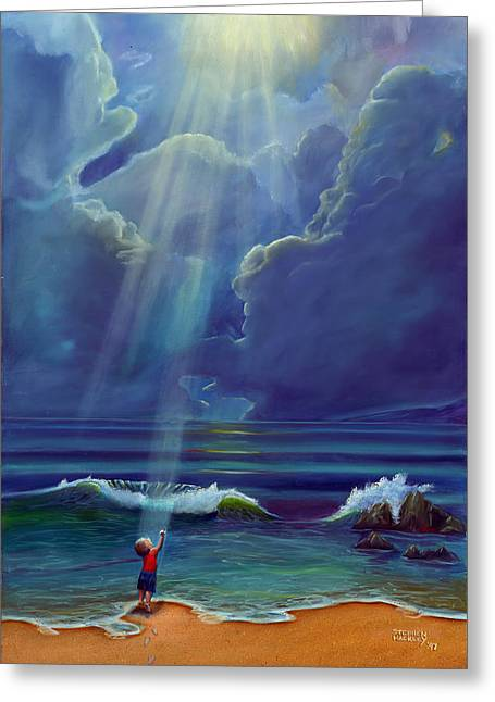 Sun Rays Paintings Greeting Cards - Mother Natures Kiss Greeting Card by Stephen Kenneth Hackley