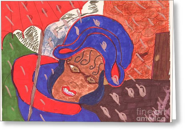 Lady With Red Umbrella Greeting Cards - A Tug of War With Nature Greeting Card by Elinor Rakowski