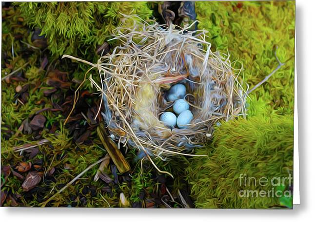 Moss Digital Art Greeting Cards - Mother of Four Greeting Card by Laura Brightwood