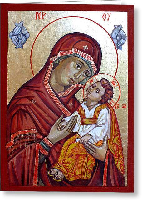 Icon Byzantine Paintings Greeting Cards - Mother of God Greeting Card by Filip Mihail