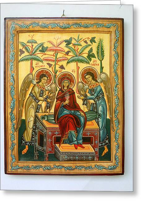 Hand-painted Icons Greeting Cards - Mother of God in heaven with the Archangels Hand Painted Holy Orthodox Wooden Icon Greeting Card by Denise Clemenco