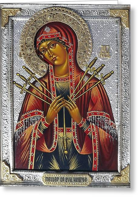 Universal Mother Greeting Cards - Mother of God melter of evil Hearts  Greeting Card by Fr Barney Deane