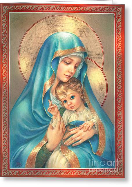 Maternal Greeting Cards - Mother of God Greeting Card by Zorina Baldescu
