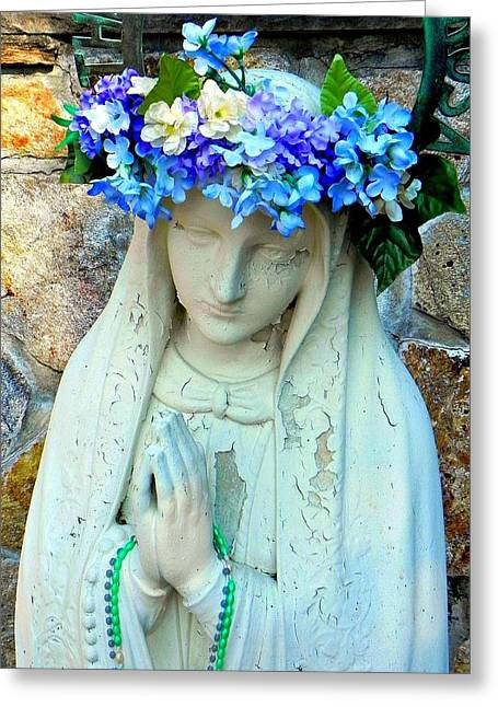 Rosary Greeting Cards - Mother of Jesus Greeting Card by Geanine Nasta
