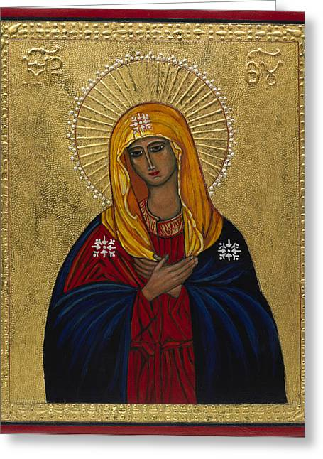 Retablos Greeting Cards - Mother of Mercy I Greeting Card by Ilse Wefers