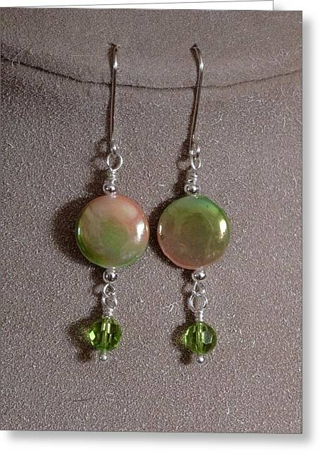Jewelry Jewelry Greeting Cards - Mother of pearl and Peridot Greeting Card by Jan Brieger-Scranton