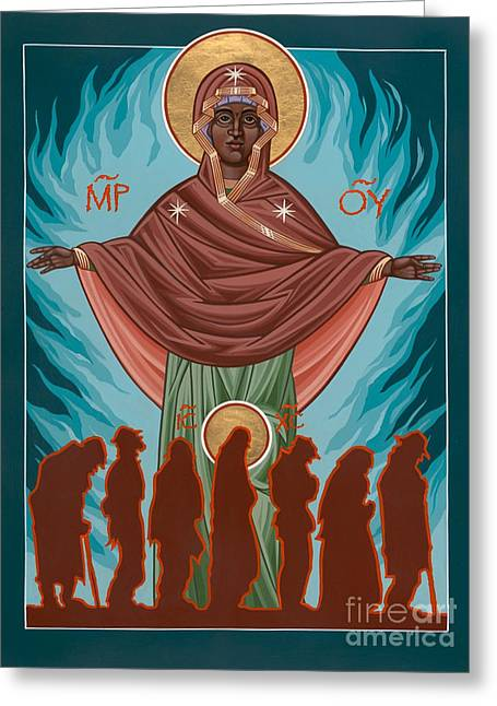 Activism Greeting Cards - Mother of Sacred Activism with Eichenbergs Christ of the Breadline Greeting Card by William Hart McNichols