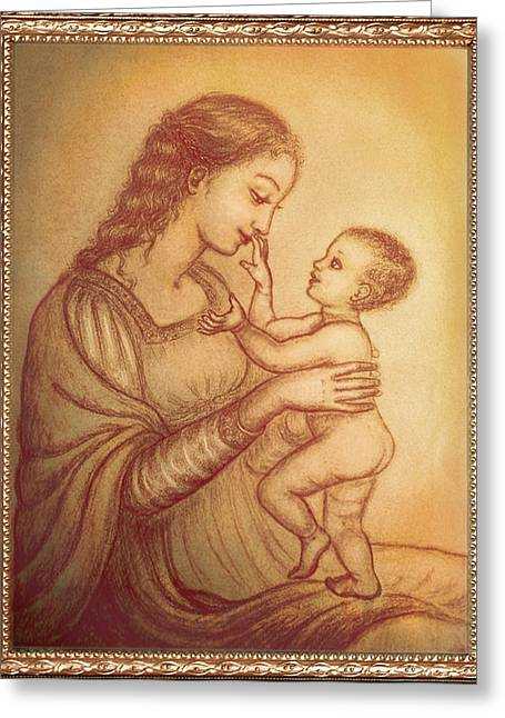 Christ Child Mixed Media Greeting Cards - Mother playing with her child Greeting Card by Ananda Vdovic