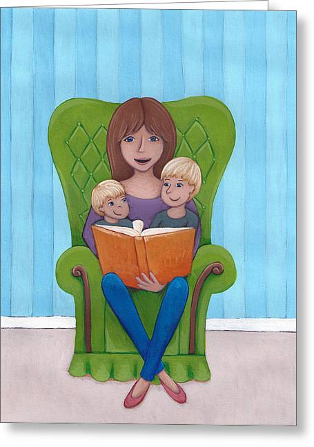 Kids Books Drawings Greeting Cards - Mother Reading Greeting Card by Christy Beckwith