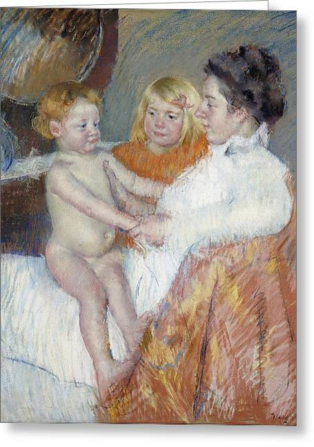 Cassatt Greeting Cards - Mother Sara And The Baby Greeting Card by Celestial Images