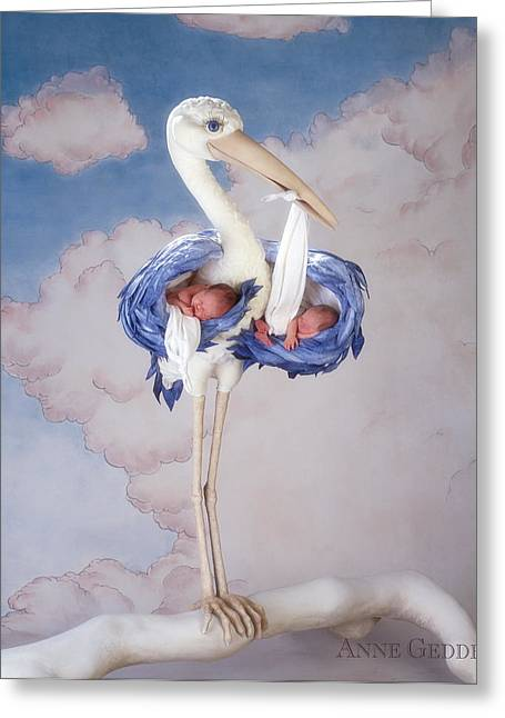Babies Greeting Cards - Mother Stork Greeting Card by Anne Geddes
