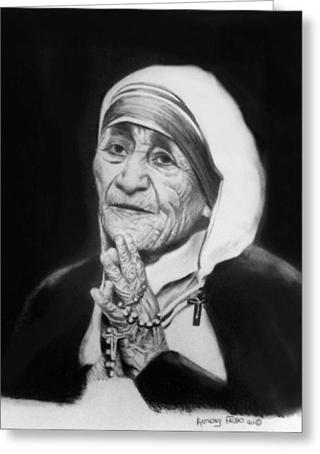 Posters Of Women Mixed Media Greeting Cards - Mother Teresa Greeting Card by Anthony Falbo