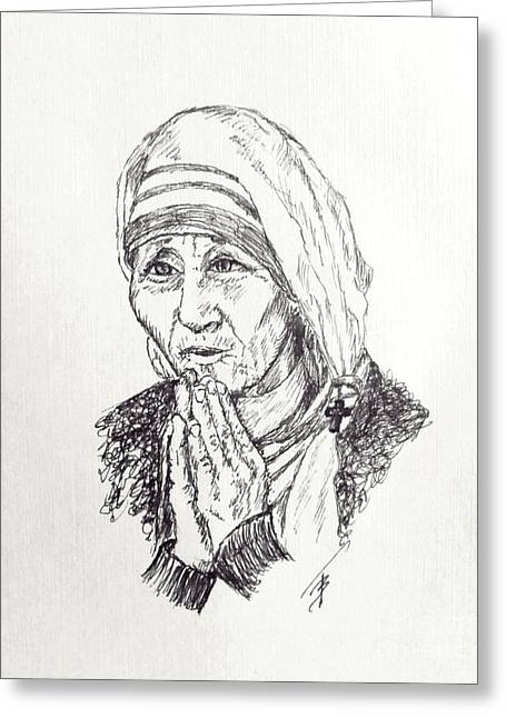 Religious Canvas Prints Drawings Greeting Cards - Mother Teresa Greeting Card by Art By - Ti   Tolpo Bader