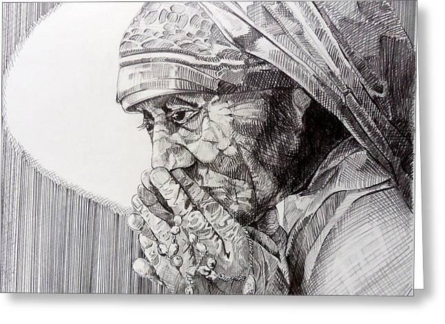 Rosary Drawings Greeting Cards - Mother Teresa at prayer Greeting Card by Gary Beattie