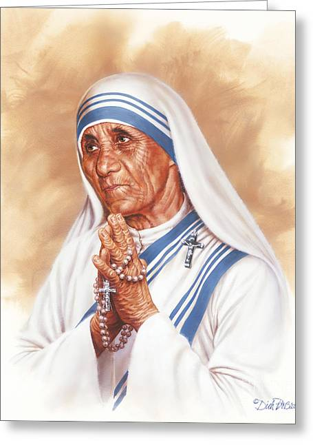 Portrait Of Mother Teresa Greeting Cards - Mother Teresa Greeting Card by Dick Bobnick