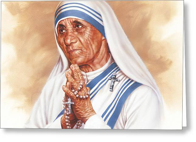 Mother Teresa Greeting Card by Dick Bobnick