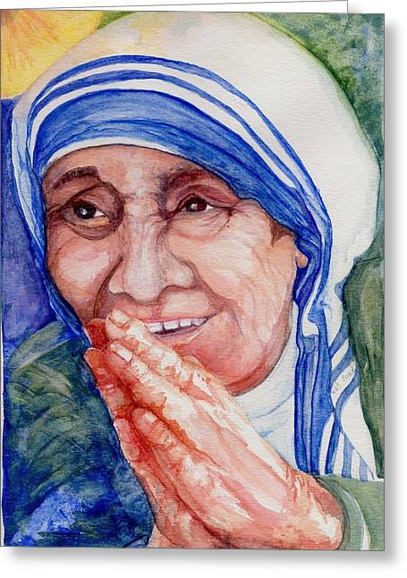 Mother Teresa Greeting Cards - Mother Teresa Greeting Card by Elle Smith  Fagan