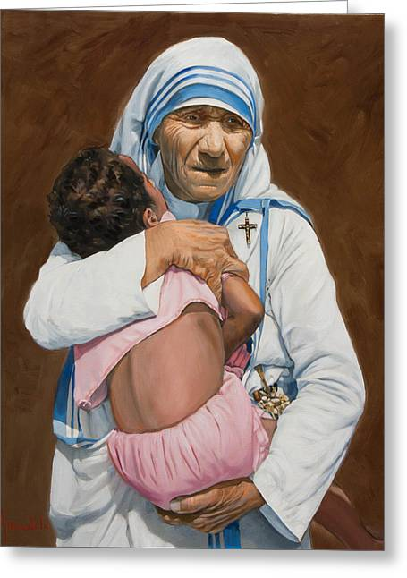 Mother Teresa Greeting Cards - Mother Teresa holding a child Greeting Card by Dominique Amendola