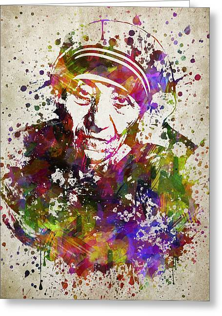 Teresa Greeting Cards - Mother Teresa in Color Greeting Card by Aged Pixel
