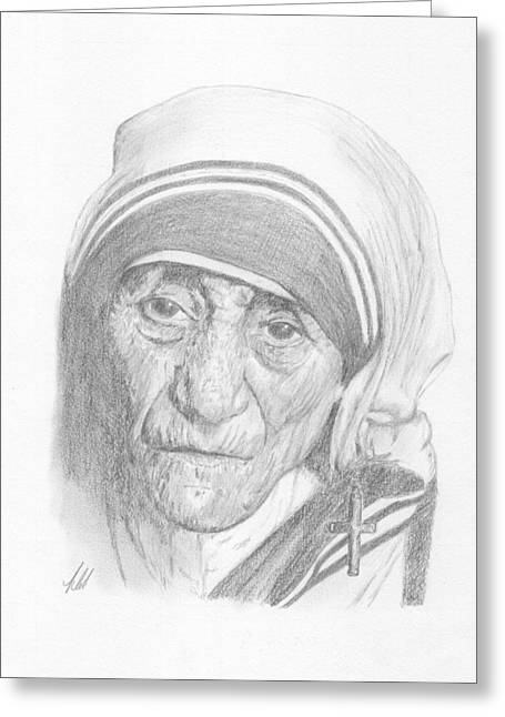 Portrait Of Mother Teresa Greeting Cards - Mother Teresa Greeting Card by Keith Miller