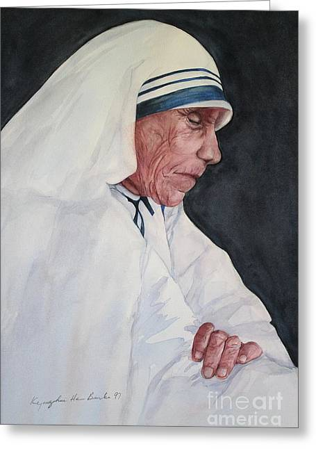 Mother Teresa Greeting Card by Kyong Burke