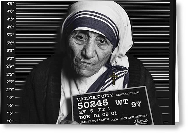 Jail Paintings Greeting Cards - Mother Teresa Mug Shot Greeting Card by Tony Rubino