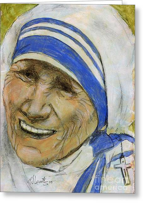 Portrait Of Mother Teresa Greeting Cards - Mother Teresa Greeting Card by P J Lewis