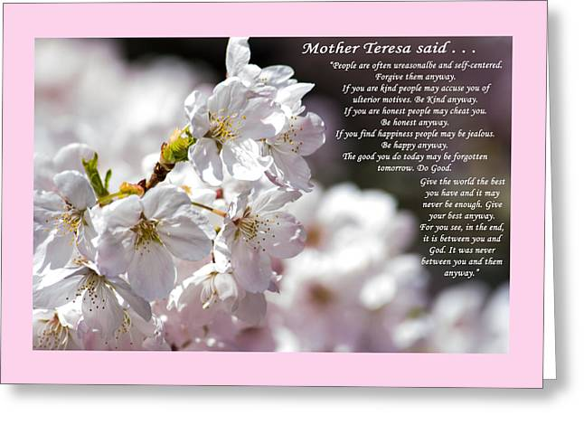 Mother Teresa Greeting Cards - Mother Teresa said Greeting Card by Roger Reeves  and Terrie Heslop